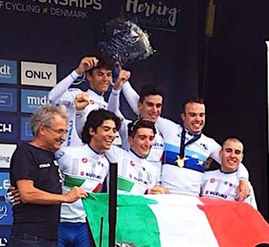la nazionale juniores italiana 2017 all'Europeo strada